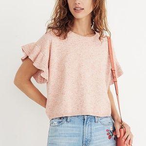 Madewell Ruffle Sleeve Sweater Light Pink Medium
